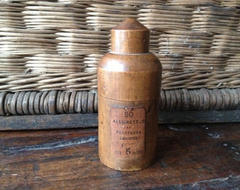 Match Safe 19th C French Rare Allumettes Wood Match Case, Treen Turned Wood