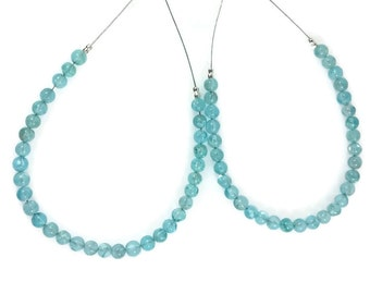 Caribbean Blue Apatite Smooth Round Beads, 4mm Gems, Natural Apatite Beads, Caribbean Blue Rounds, Smooth Rounds Beads