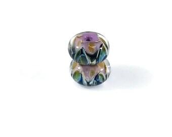 Boro Glass Lampwork Bead Pair, Encased Black Triangles on Pink Base, 8x15mm Lampwork Beads, Pink and Black Borosilicate Glass Lampwork Beads