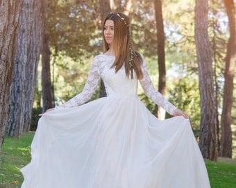 Bridal Dress, SuzannaM Designs, Lace Wedding Gown, Long Bridal Gown, Ivory Bridal Dress, Chiffon Gown, Long Sleeve Wedding Dress, Agape