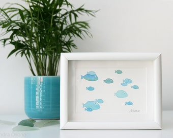 School of fish illustration - Original Watercolor Painting - Blue Kids room wall decor, Nautical Nursery Art, Ocean Art, Beach Cottage Decor