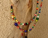 60s Inspired Lot 2 Colorful Long Strands Festival Hippie Boho Love Beads Peace Sign Necklaces