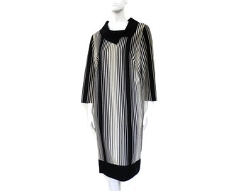 Space Age Mod Polyester Knit Dress from the 1960's  Black and White Striped Plus Size 20
