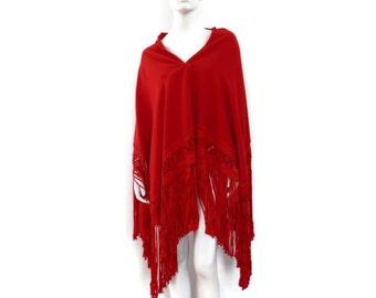 Red Wool Piano Shawl with Long Braid Fringe 1920s Art Deco Era