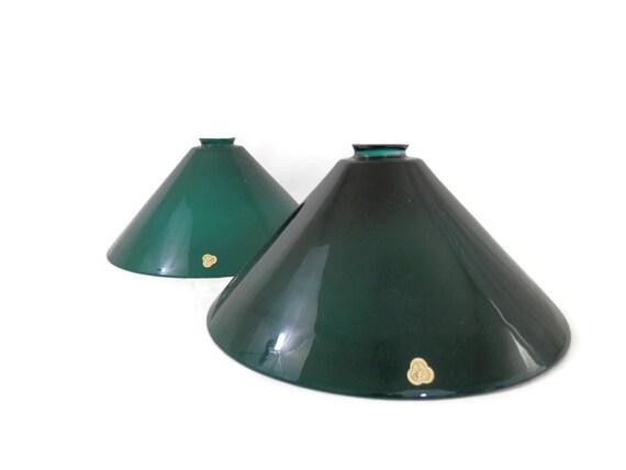 pair emeralite type cased green glass lamp shade pendant lighting. Black Bedroom Furniture Sets. Home Design Ideas