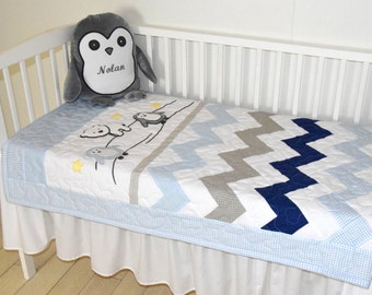 Chevron Crib Bedding, Penguin Baby Quilt, Gray Navy Blue White Toddler Blanket, Gift for New Baby