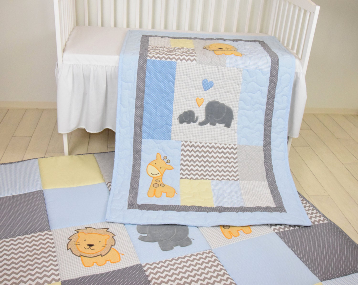 Baby Blue Blanket Elephant Boy Quilt Crib Safari Bedding