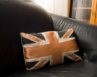 Distressed Union Jack bohemian pillow from vintage materials