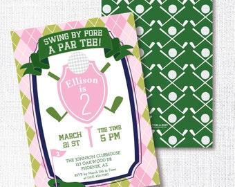 PINK GREEN GOLF girl preppy birthday party invitation swing by fore a par tee golfing invite mini golf tween teen first 1st
