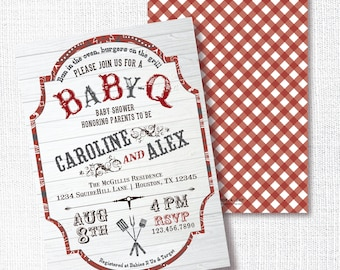 RED BABY-Q BBQ baby couples shower sip and see sprinkle invitation backyard barbeque party babyq gender neutral plaid bandana boho country
