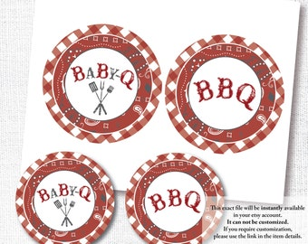 RED BABY-Q CENTERPIECE red bbq babyq sprinkle shower large circle decoration cake topper diy printable digital file decor instant download