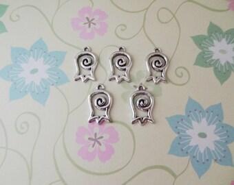 5 pcs - Silver Spiral Flower Charm