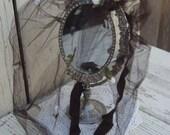Reserve for Vivian only please.Vintage black Hair Net. Black net hair cover. Rose embelleshed hair net