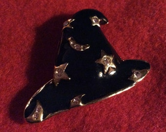 Vintage Halloween Witches Black Hat Brooch Pin