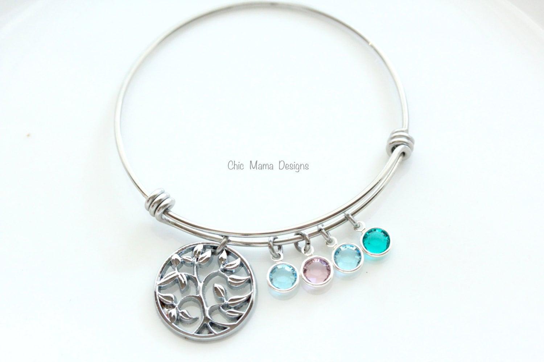 family tree bracelet charm bracelet bangle by chicmamadesigns