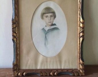 """Framed Hand Drawn Childs Portrait """"Juillet"""" 1928"""