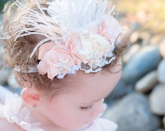 Mermaid Pink blush Silver Starfish feather crown feather headband girl feather crown starfish headband with gold  or silver glitter pearl