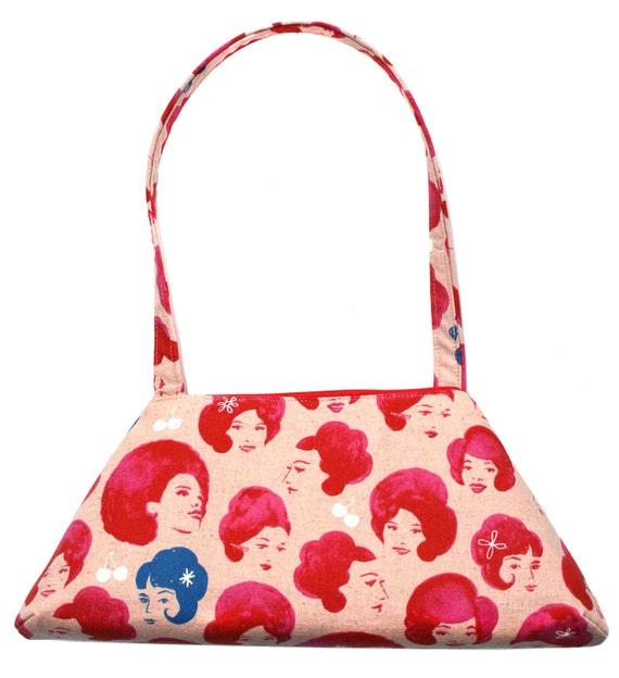 Vintage ladies, pink, vintage inspired, retro style, tote