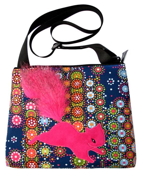 squirrel, hot pink, dot pattern, blue , fake fur, vegan, cruelty free, large, cross body bag