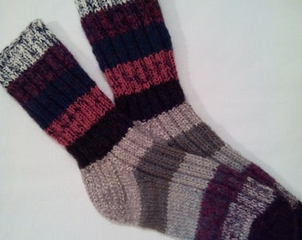 Hand Knitted Wool Socks For Men-Colorful Wool Socks-Size Large US 12/EU 46