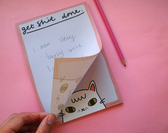 Cat notepad - List Pad - Cat List Pad - Get shit done - Lists - I like cats - Cats - Cat notebook - Notebook - Notepad - Cat book - paper