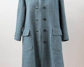 Vtg 60s Blue WOOL Harris Tweed HandWoven Scottish trench coat dress Jacket M L