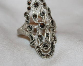 Vintage Art Deco Ring, Sterling Silver Marcasite Ring, Engagement Promise Ring, Boho Statement Ring,  1940s  Jewelry