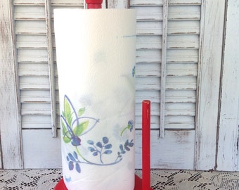 Vintage Wooden Paper Towel Holder / Red Cottage Farmhouse Kitchen