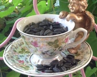 Vintage Tea Cup on an Angel Bird Feeder - Pink Metal & Vintage China Outdoor Garden Patio Apartment