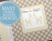 TWIN Pregnancy Journal | Pregnancy Gift for Twins | Personalized Pregnancy Scrapbook for Twins | Twin Giraffes | Large Cream Polka Dots