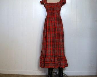 Red Tartan Plaid Smock Dress 1970s Vintage Midi Dress SMALL MEDIUM Stewart Plaid Holiday Plaid Short Ruffled Sleeves & Hem Peggy Barker USA