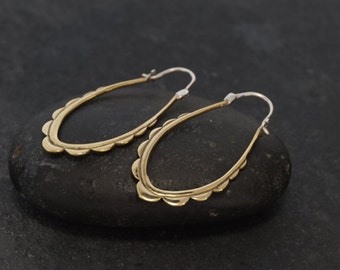 Oval Hoop Earrings - brass w/ sterling posts - Mohana