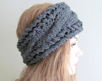 Sale Grey Cabled Headbands Earwarmers Headwraps Gray Accessories Headcovers Womens Headwraps