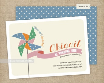 Pinwheel Invitation/ Pinwheel Birthday Invitation | Printable or Printed