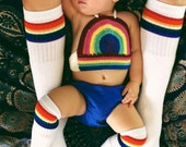 Crocheted Rainbow Halter, Kids Crop Top, Girls rainbow top, Baby summer top,