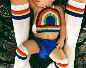 Crocheted Rainbow Halter, Kids Crop Top, Girls rainbow top, Baby summer top,
