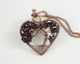 Heart Tree-Of-Life Necklace Garnet Necklace Pendant Wire Wrapped Pendant Wired Copper Jewelry Family Tree January Birthstone Gift for her
