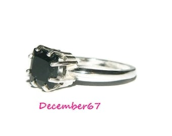 Black Spinel Ring, Square Stone, Natural Gemstone Ring, Sterling Silver