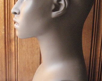 Male Mannequin Head - African American Man Bust - Dark Skin, Realistic Face and Ears - Black Mannequin Display Piece - Hat / Toupée / Wig