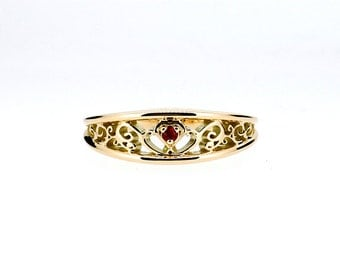 Red sapphire filigree ring, heart engagement, yellow gold, white gold, rose gold, red engagement, filigree wedding,  sapphire wedding