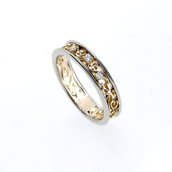 Filigree Ring Bands: Two Tone Filigree Ring With Diamonds Yellow Gold Wedding
