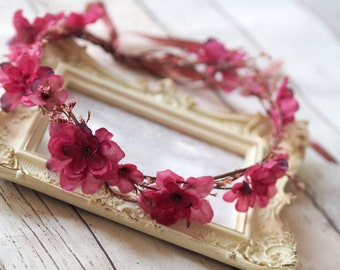 Flower Headpiece, Flower Halo, Floral Hair Wreath, Bridal Woodland Flower Crown, Boho Wedding Crown, Cherry Blossom Hair Accessory