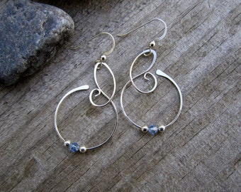 Medium Free Form Sterling Silver Earrings with Aqua Swarovski Crystals