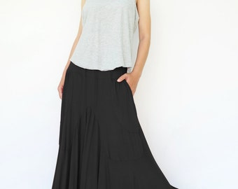 NO.136 Black Rayon Spandex Softly Softly Asymmetrical Skirt, Long Maxi Skirt