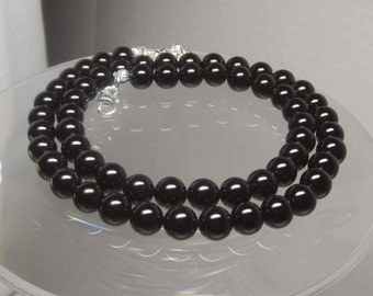 Black Onyx Beaded Necklace 8mm Round Beads Select Your Length