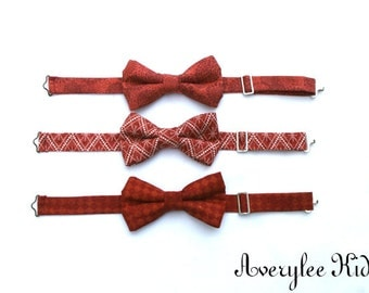 Burnt Orange Boys Bow Tie, Rust Orange Boys Bow Tie, Terra Cotta Bow Tie, Toddler Bow Tie, Wedding Ring Bearer