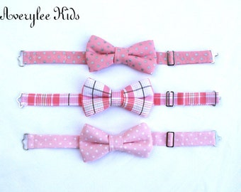 Boys Bow Tie, Pink Bow Tie for Toddlers to Teens, Blush Pink, Pink Plaid Bow Tie, Wedding Ring Bearer, Grey and Pink Bowtie, Bow Ties