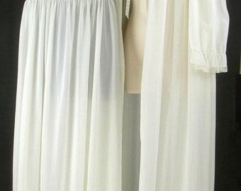 Vtg 50's-60's Nylon White Lace ~LADY LENORA~  Peignoir ensemble