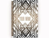 2016 2017 Planner White Art Deco Personalized To Do List Spiral Bound Calendar Book with Taupe Accents