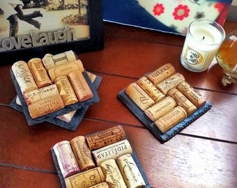 6 Slate Wine Cork Coasters - Christmas, Engagement, Birthday, Wine Lover, Valentine's Day